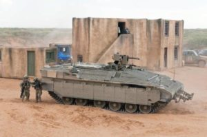 Testing Requirements: An Israeli Namer is part of a Maneuver Battle Lab ground combat vehicle assessment at Fort Bliss, Texas. (US Army)