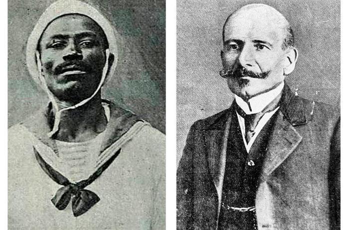 João Cândido, apelidado de Almirante Negro; e Hermes da Fonseca, o presidente da República (fotos: O Malho/Biblioteca Nacional Digital e Library of Congress)