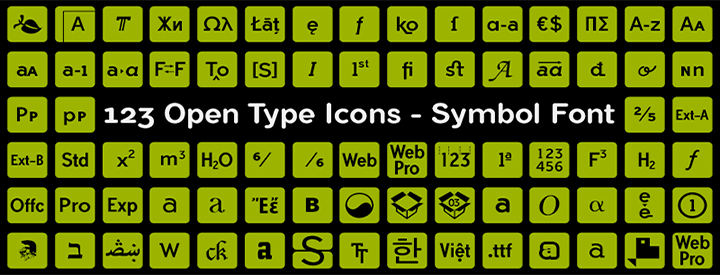 123 OTF Icons -Font & Vector-