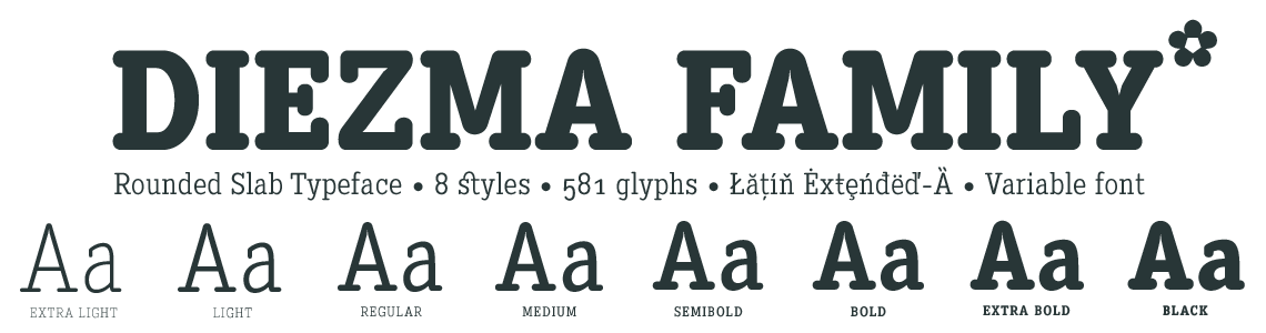 Diezma Round Typeface Family. 8 styles & Variable Font