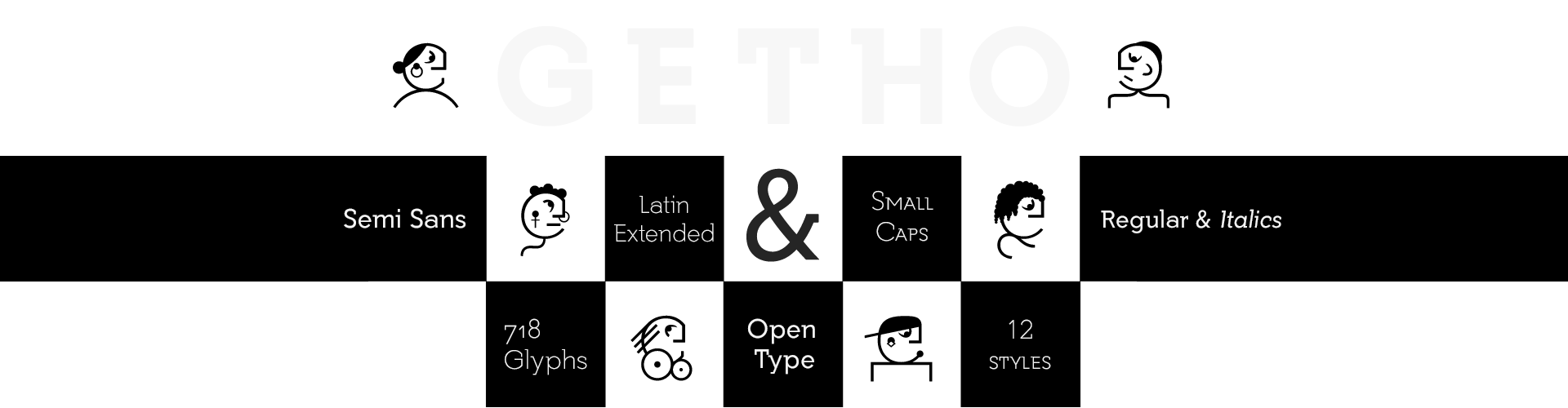 Getho Semi Sans Fonts & Small Caps Family