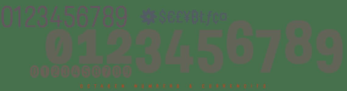 Octagen Sans Condensed -Numbers & Currencies