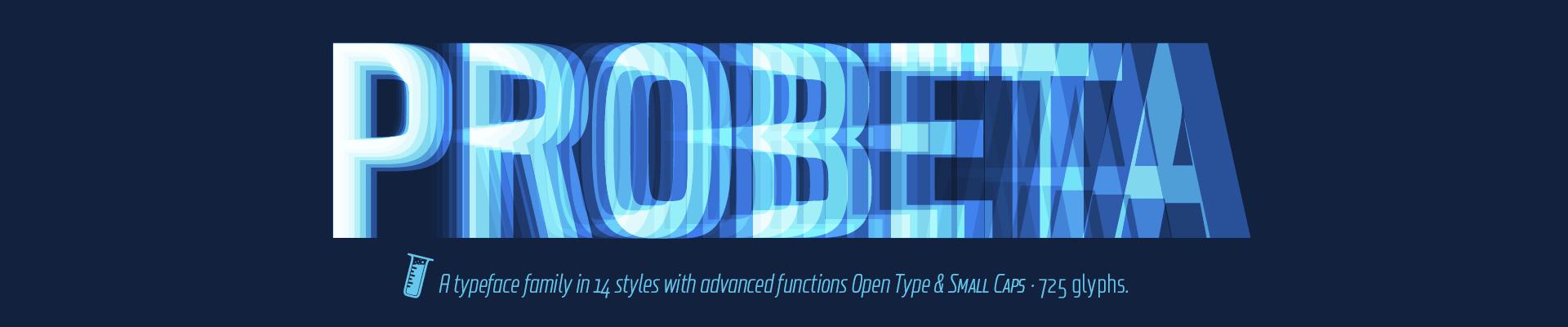 Probeta Sans family fonts - 14 styles - Roman & Italics