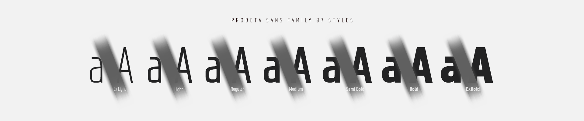 Probeta Sans Condensed fonts - 07 styles - OpenType Features