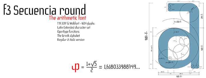 f3 Secuencia round, arithmetic font