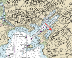 nautical chart of Gloucester Harbor with an arrow pointing to where Windfall is docked