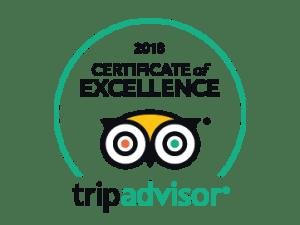 2018 Certificate of Excellence ~ Tripadvisor