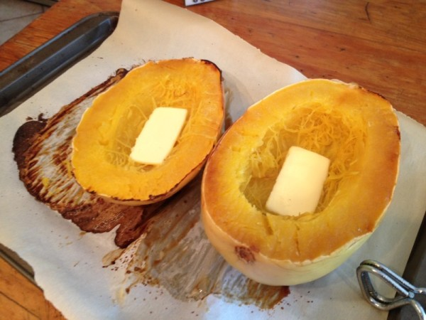 Cut the squash in half, and scrape the seeds out. Bake cut-side down, on a parchment paper covered baking sheet for 40 minutes at 400 degrees. Remove from the oven, flip open-side up, add a tablespoon of Pasture-Fed Butter and let cool. Then scrape the cooked squash into an individual serving bowl for each half.