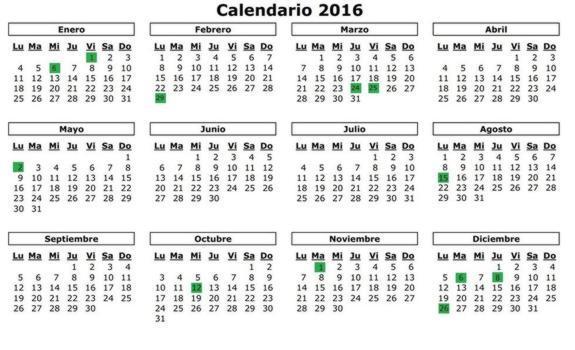 calendario 20016