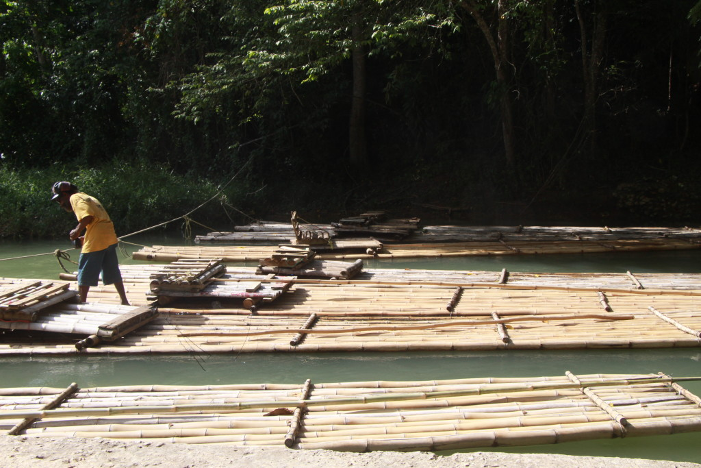 Martha Brae river Rafting Jamaica - Securing the rafts for the night