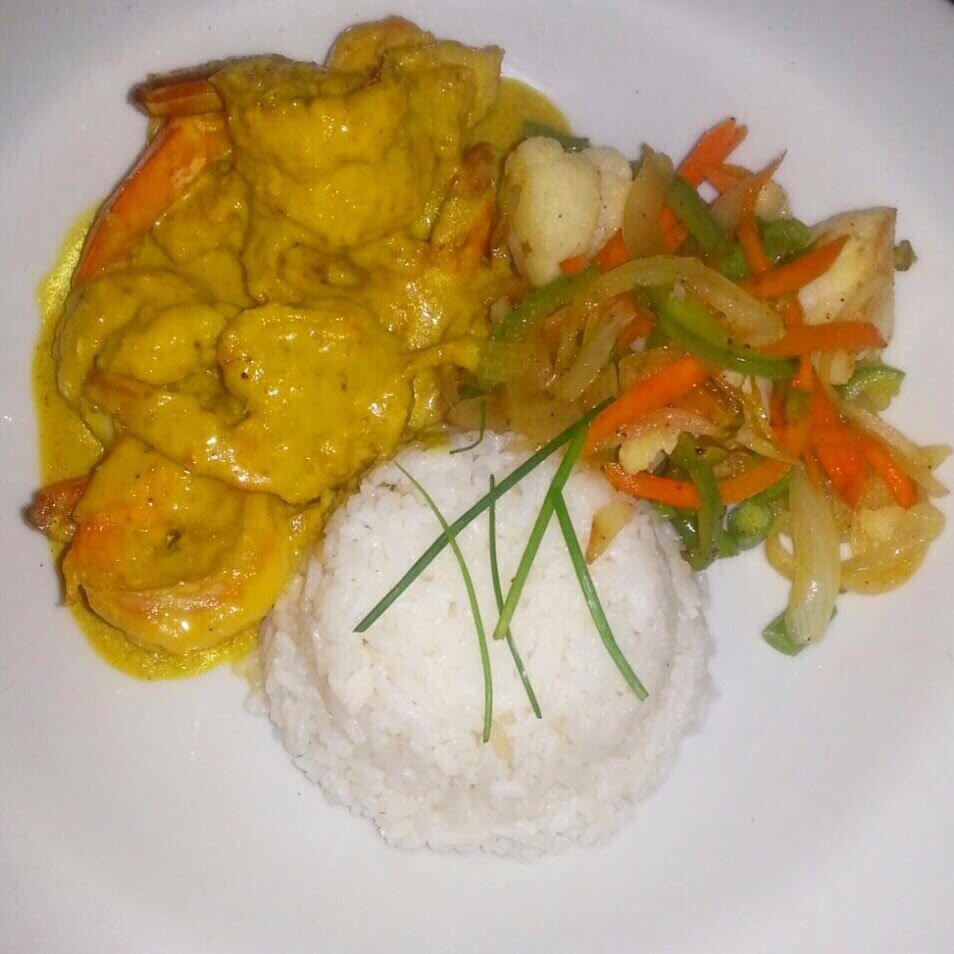 Curried shrimp at the Houseboat Grill in Montego Bay Jamaica