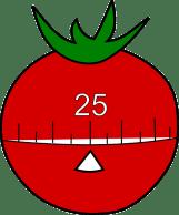 Un minuteur en forme de tomate ! Illustre la technique du pomodoro.