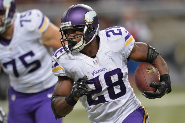ST. LOUIS, MO - SEPTEMBER 7: Adrian Peterson #28 of the Minnesota Vikings rushes during a game against the St. Louis Rams at the Edward Jones Dome on September 7, 2014 in St. Louis, Missouri. (Photo by Michael B. Thomas/Getty Images)