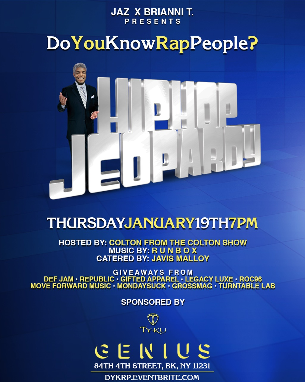 Jaz x brianni t presents do you know rap people hip hop jeoperdy everyone claims to be a hip hop enthusiast well here is the chance to prove yourself respect mags own jaz and the infamous brianni t presents do you solutioingenieria Images