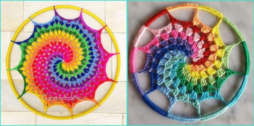 mandala em crochê espiral decoração parede
