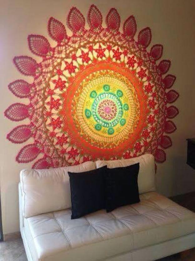 mandala em crochê decoração parede