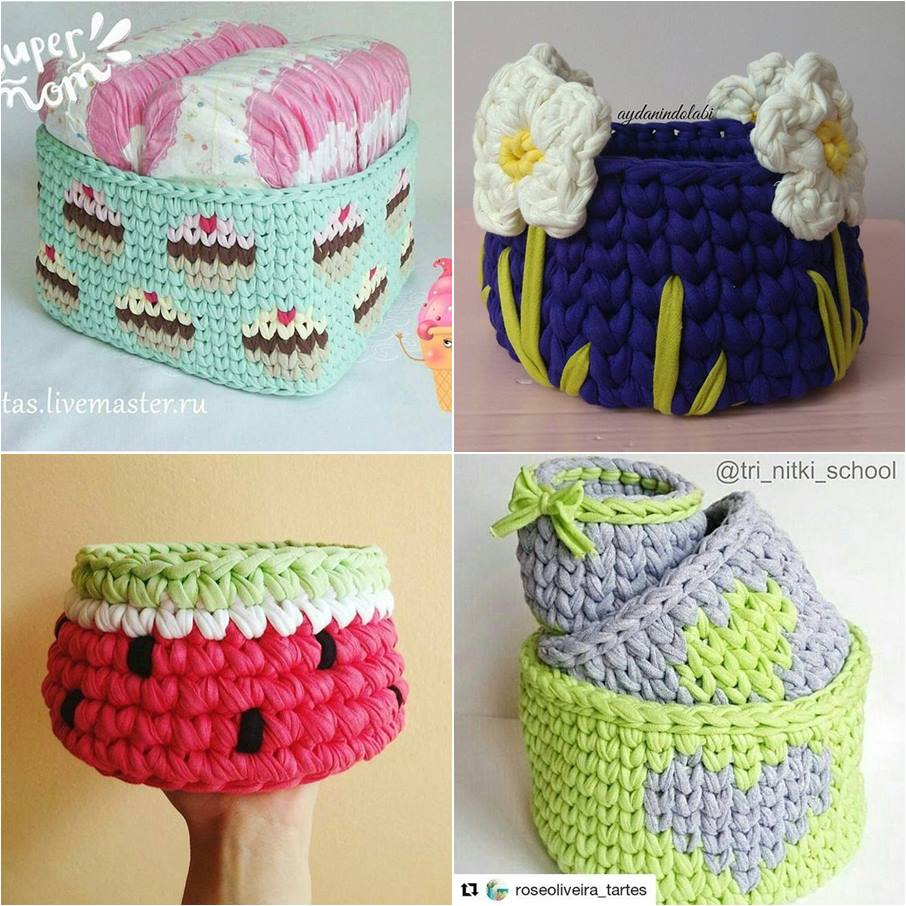 cesta de croche com fio de malha - DIY - artesanato - decoração