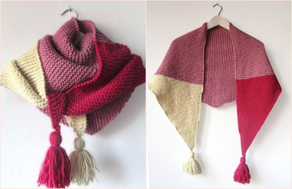 04 xale cachecol diy tres cores knitting shawl scarf