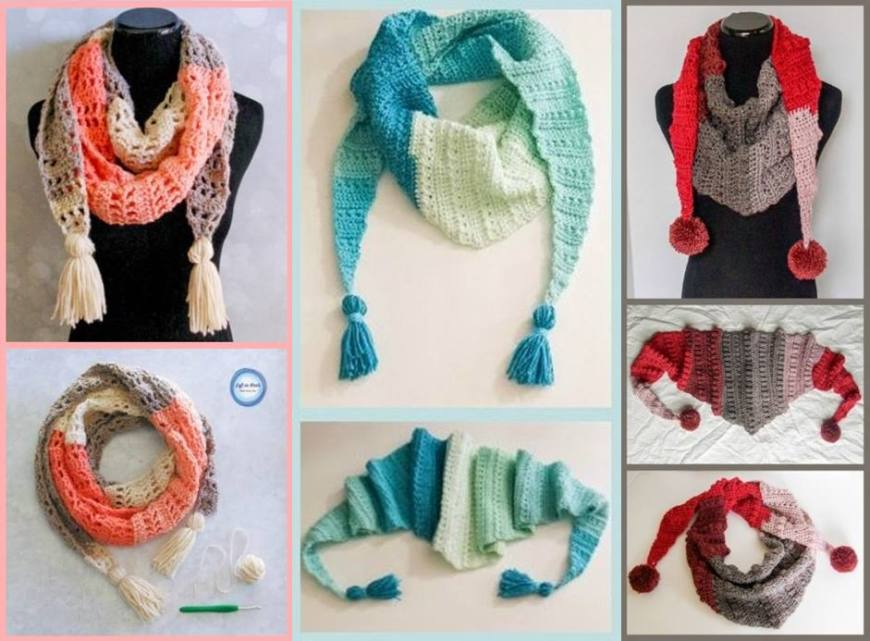 06- xale cachecol diy 3 cores knitting shawl
