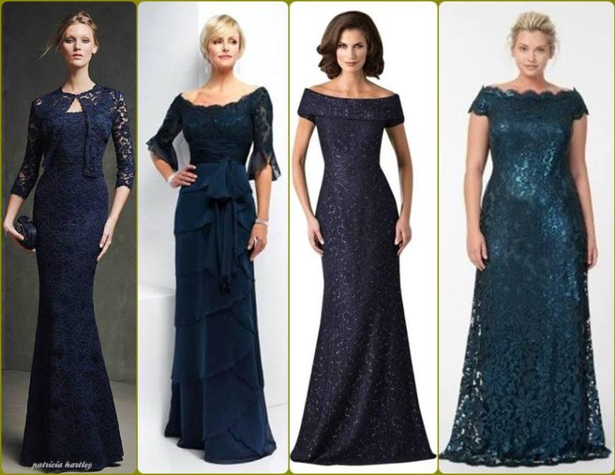 vestido para a mãe da noiva ou noivo - moda anti-idade - longo, azul, renda - defrenteparaomar.com