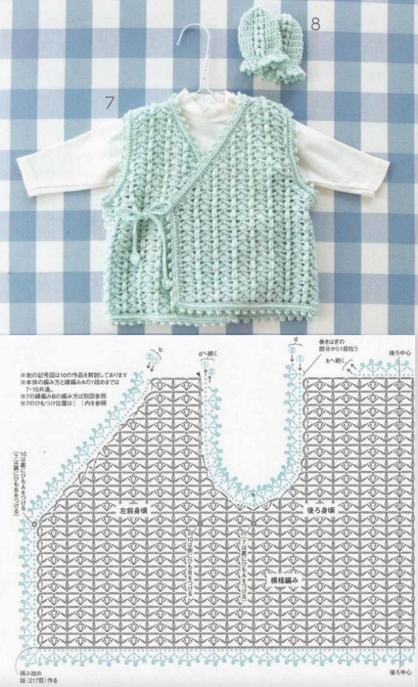 Roupinha de bebê em crochê com gráfico