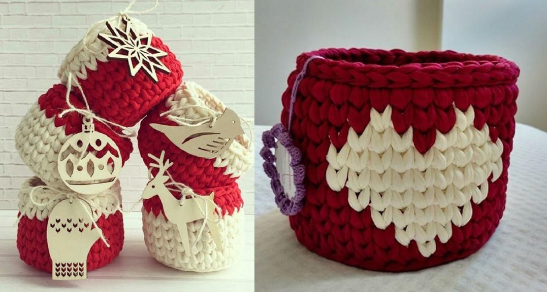 DIY - Ideias de cestos de Natal com fio de malha