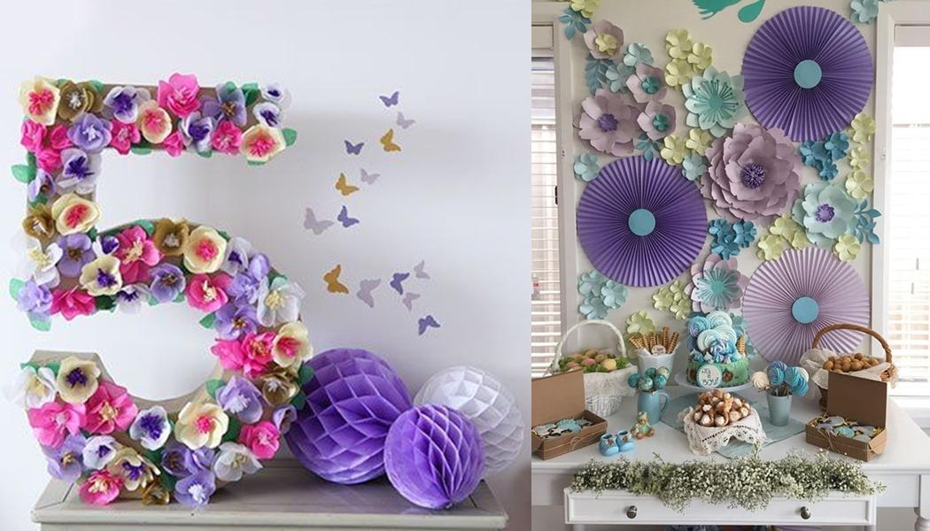 Decoração com flores gigantes para festa de aniversário