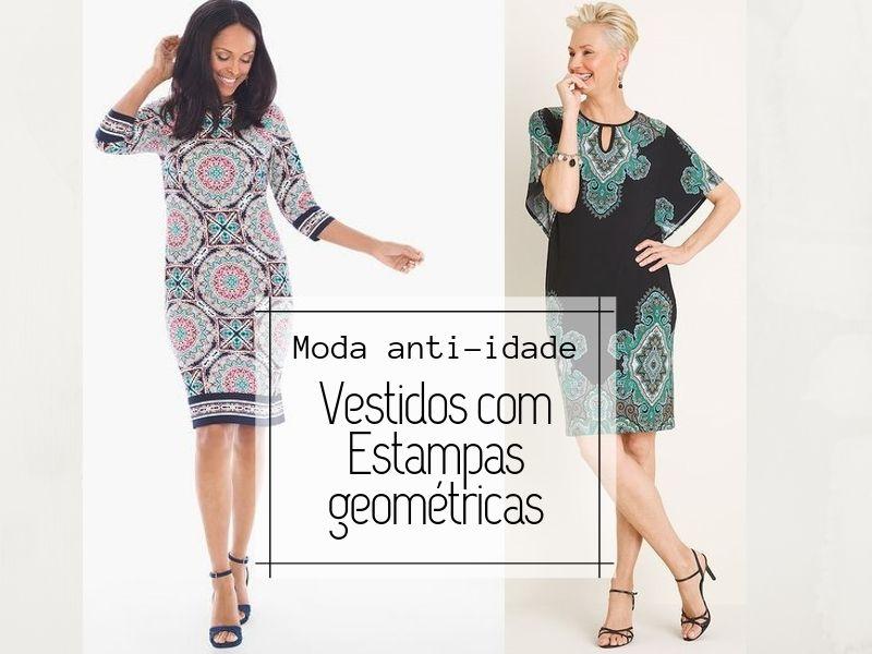 Moda anti-idade: Vestidos com estampas geométricas