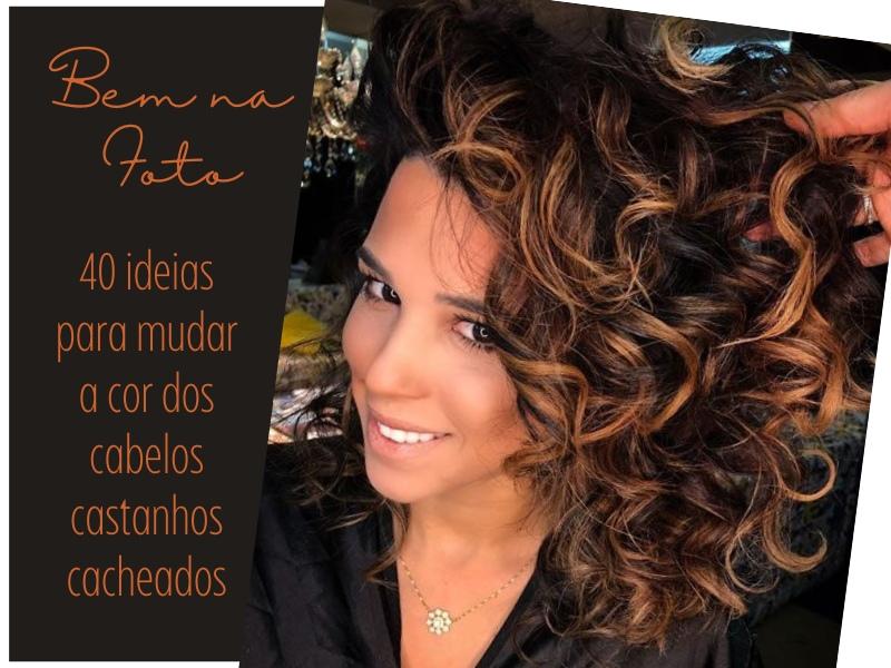 40 Ideias para mudar a cor dos cabelos castanhos cacheados