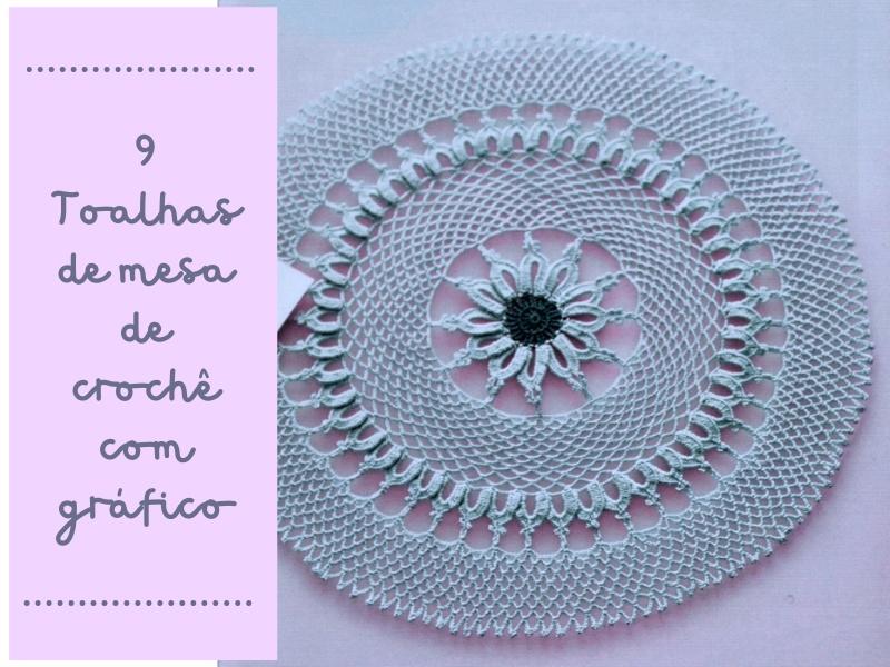 9 Toalhas de mesa de crochê com gráfico