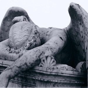 Statute of a grieving angel