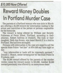 reward in case Beth Ann Brown Patterson