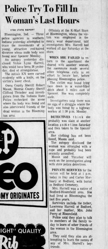 Vickie Lynn Harrell The Indianapolis Star (Indiana) from Aug 16, 1972