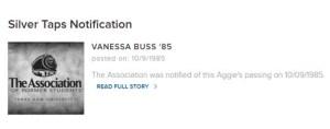 Vanessa Lynn Buss Silver Tap Texas A&M 1985