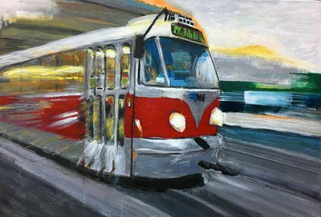 deGranero dibujo pintura Madrid acrílico autobús