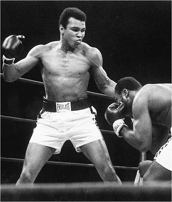 Muhammad Ali vs Joe Frazier. Madison Square Garden, 1974. Reference Image for 'Stings Like a Bee.' From the series 'War on the Brain' by Romeo Alaeff.