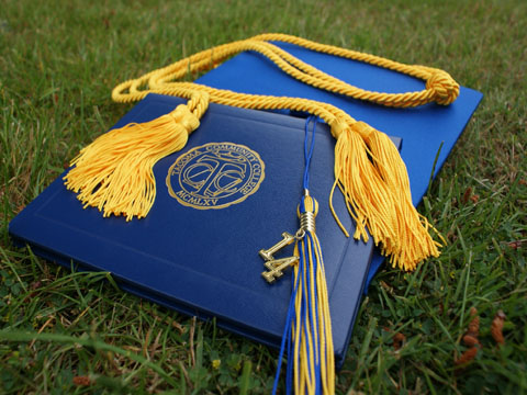Graduation certificate and cap