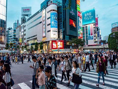 City Street In Japan