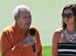 (photos by Luke Treat -- Arnold Palmer takes questions from media members Monday afternoon at Top of The Rock.)
