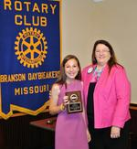 Madeline Sparks, School of the Ozarks student and RYLA attendee, with Inez Gibbs, Secretary of the Branson Daybreakers Rotary Club. (photo by Mark Parent)