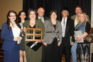 """The 2015 First Place Winners """"Wrong Side of the Bridge"""" from left to right: Sammy Trimble, Rachel Trimble, Trish Trimble, Kelly Trimble, Dolores Rollins, JR Rollins, Keith Thurman, Tammy Thurman."""