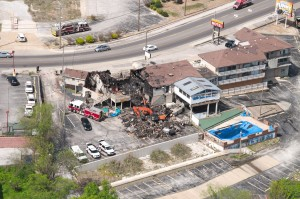 The fire-torn Hillbilly Inn Restaurant in Branson as photographed by Kelly Trimble Thursday afternoon, April 14, 2016. (photo courtesy of Kelly Trimble)