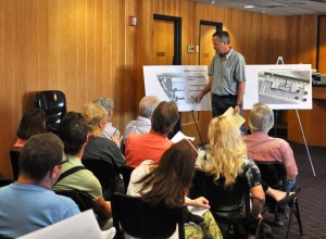 City Engineer David Miller goes over drawings for Liberty Plaza during a public hearing at Branson City Hall on May 4, 2015.