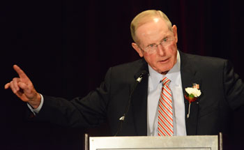 The Greenwich High School Hall of Fame Awards Dinner honored a plethora of great athletes and coaches that passed through the halls of GHS. New York Giants head coach Tom Coughlin introduces legendary Greenwich football head coach Mike Ornato during the banquet last week. (John Ferris Robben photo)