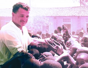Stephen with the students at the Kagugu School in Rwanda, Africa. He helped build the first public school library in the country at the Kagugu School.