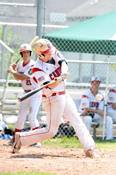 Greenwich legion's hunter Frantz looks to make contact with the ball during a recent state playoff game. (John Ferris Robben photo)