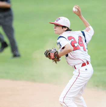 Greenwich's Charlie Zeeve, the Sharkey Laureno Most Valuable Player, scoops up the ball at second and fires toward first during a routine out Tuesday night. (John Ferris Robben photo)