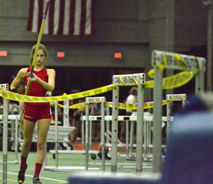 Greenwich High pol vaulter Lia Zavattaro preps for her winning height during Thursday's FCIAC championship meet. (Paul Silverfarb photo)