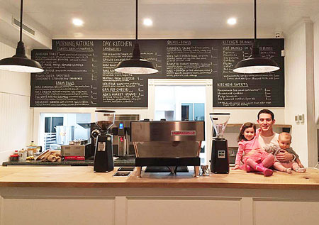 Chef and Owner, Mike Pietrafeso with his daughters, Ella (3) and Josie (9 months)