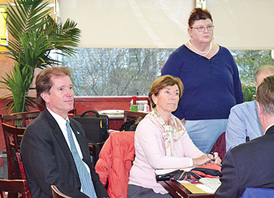 State Sen. Scott Frantz and Representative Livvy Floren (pictured above) and Representatives Fred Camillo and Mike Bocchino met with a packed crowd at Glory Days diner in central Greenwich Monday morning to hear residents concerns and discuss state politics and a shifting economy.
